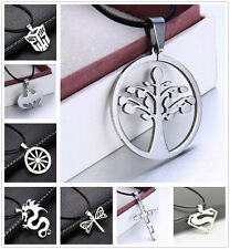 BLACK LEATHER CORD CHOKER CHARM NECKLACE PENDANT STAINLESS STEEL  BOHO