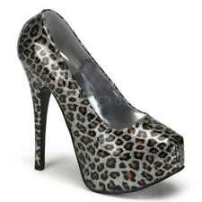 NWOB Bordello Teeze 37 Metallic Silver Cheetah Platform Stilettos Size 7 Exotic
