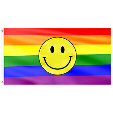 Gay Rights Pride Supporter Flags Emoji Smiley LGBT Rainbow Festival Cape / Flag