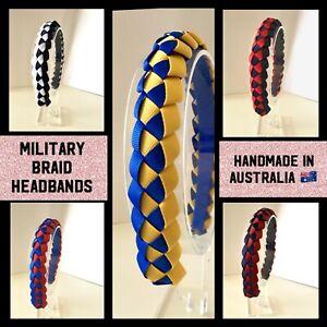 Girls School Military Braid Headbands 23 Colours  Plus Custom Colours Available