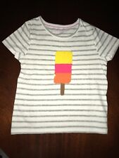 NWT 3/4 Mini Boden Gray Striped Color Change Sequin Popsicle Ice Pop Tee