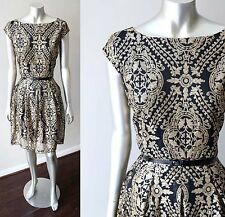 Embellished Sequin Pleated Baroque Gold Black Cocktail Party Blouson Dress Sz L
