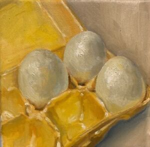 Eggs In Carton still life Original Oil Painting