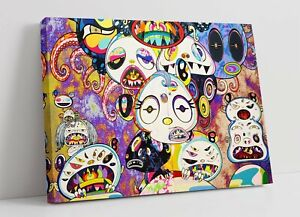 MURAKAMI 3 CANVAS WALL ART FLOAT EFFECT/FRAME/PICTURE/POSTER PRINT-PURPLE YELLOW