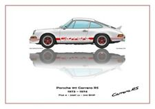 Print on Canvas Porsche 911 Carrera RS 1973 White /  Red, White 180 x 120