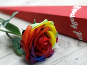 Luxury Soap Single Rainbow Rose - Gift Boxed - Flower Soaps Set Scented