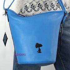 NWT Coach x Peanuts Snoopy Blue Leather Bleecker Mini Duffle Bag 36441 NEW RARE