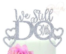 30th Anniversary Vow Renewal Wedding Cake Topper with 2 Rhinestone Hearts