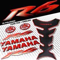 "CHROMED RED PRO GRIP FUEL TANK PAD+8"" YAMAHA LOGO+YZF-R6 FAIRING EMBLEM STICKER"