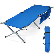 Folding Camping Cot Heavy-duty Camp Bed W/Carry Bag for Traveling Vocation Beach