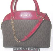 Michael Kors Large Dome Emmy Satchel Brown Signature Cherry Red Leather NWT $378