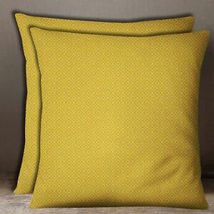 Cotton Poplin 2 Pcs Yellow Geometric Print Home Decor Pillow Case Cushion Cover