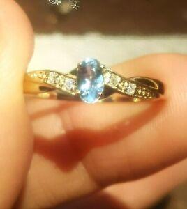 Genuine Aquamarine Diamond 9K Yellow Solid Gold Ring Engagement Cocktail Dress
