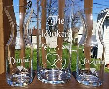 Sand Ceremony Set Hurricane Style Fancy Personalized Etched Glass Name + date
