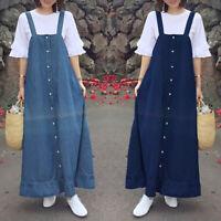 Women Strappy Casual Summer Tank Dress Denim Blue Loose Suspender Shirt Dress