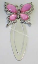 Bookmark With A Pretty Pink Jewelled Rhinestone Butterfly & Bling Silver Tone