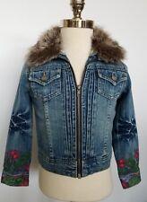 Guess Girls Denim Jean Jacket Fur Collar Floral Size 6