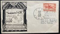 1940 USA USS Akron & Macon Airship zeppelin Memorial cover To Miami FL