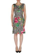 Joseph Ribkoff Black/White/Multi Floral Fit-And-Flare Dress 182753 US 10 UK 12