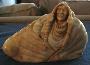 Hand Carved Pink Alabaster Indian Sculpture by Mike Toledo