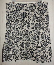 NEW WOMENS LIZ CLAIBORNE Villager IVORY & BLACK FLORAL PRINT LINED SKIRT SIZE 12