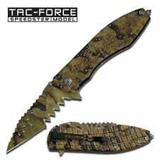 Jungle Camo Jigsaw Shark Tooth  Assisted Opening Knife -TAC FORCE New  TF729JC W