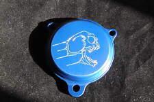 RAPTOR 700 700R SCREAMING SKULL BILLET ALUMINUM OIL FILTER COVER ANODIZED BLUE