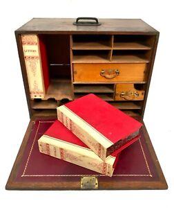 Antique Wooden Oak Stationary Box With Files / Large / Desktop Filing Cabinet