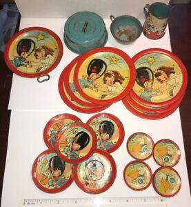 Ohio Art Tin Litho Toy Tea Set 19 Pcs. Wedding 105