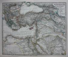 Original antique map EAST MEDITERRANEAN, NORTH AFRICA, NILE DELTA, Stieler, 1886
