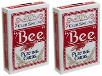 2 Decks Bee Standard Index Red Poker Playing Cards Club Special Magic Tricks NEW
