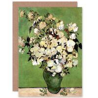 Vincent Van Gogh A Vase Of Roses 1890 Old Master Blank Greeting Card
