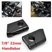 """2xBlack CNC Aluminum 7/8"""" 22mm Motorcycle Bike HandleBar Mount Clamp Riser Taper"""