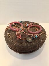 Antique Chinese Sewing  00006000 Basket w/ Contents