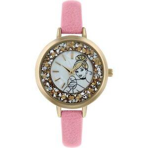 Disney Princess Quartz Silver Dial Pink Leather Strap Girls Watch PN5044