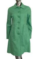 Monsoon Linen Jacket Longline Coat Green Ditsy Floral Cotton Lining UK 10