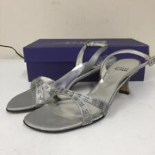 Stuart Weitzman Womens 5W53458 Heel Size 8 M Silver Leather Sole Shoes