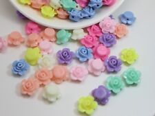 100 Mixed Pastel Color Acrylic FlatBack Rose Flower Beads 13mm Jewelry Making