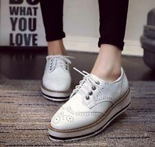 Women Brogue Platform Patent Leather Flats Lace Up Flat Oxford Shoes Creeper