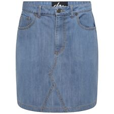 "DeMina Ladies Distressed Denim Western Skirt 18"" long Stonewash 6 to 18-Trudy"