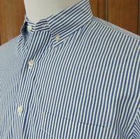 EUC J CREW Classic Mens M Blue White Striped SEERSUCKER L/S Button Front SHIRT