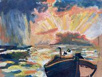 Expressionist Boot am Strand Abendsonne Regen Beidseitig bemalt 31 x 40 Ölbild