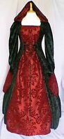 Medieval Gothic Wedding Dress Renaissance Hooded Gown Pagan Custom Made to size
