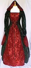 Medieval Gothic Wedding Dress Renaissance Hooded Gown Custom Made to size