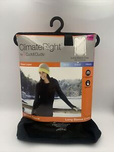 Cuddl Duds Black Climate Right Women XS - Long Sleeve Crew Stretch Fleece - NEW