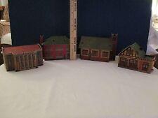 Vintage Built-Rite Cardstock HO Set of 4:CHURCH, FIRE STATION, SCHOOL, UNION STA