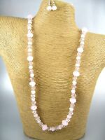 Lovely Pink Crystal Beads Fashion Necklace Earrings Costume Women Jewelry