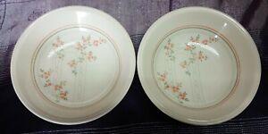 Vintage Biltons Coloroll England Floral Apricot Roses Trellis Bowls pair