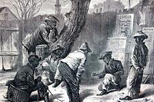 Richmond Virginia Black Americana 1869 NEGRO BOYS PLAYING MARBLES Antique Print