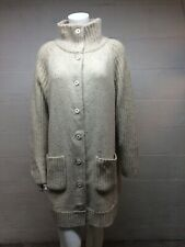 "Eileen Fisher Beige Lambswool Angora Blend Button Down Duster Coat Sz L 45"" Bust"